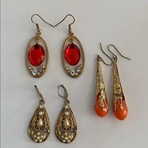 Jewelry - 3 Pair Earrings Orange Pearl Rhinestones